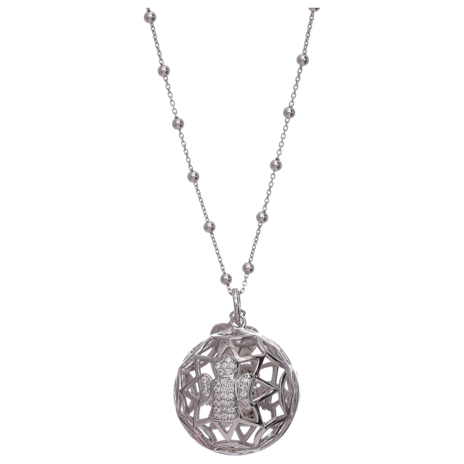 Collier AMEN pendentif bola de grossesse argent 925 et zircons 4
