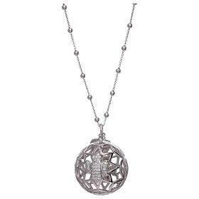 Collier AMEN pendentif bola de grossesse argent 925 et zircons s1