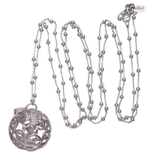 Collier AMEN pendentif bola de grossesse argent 925 et zircons 3