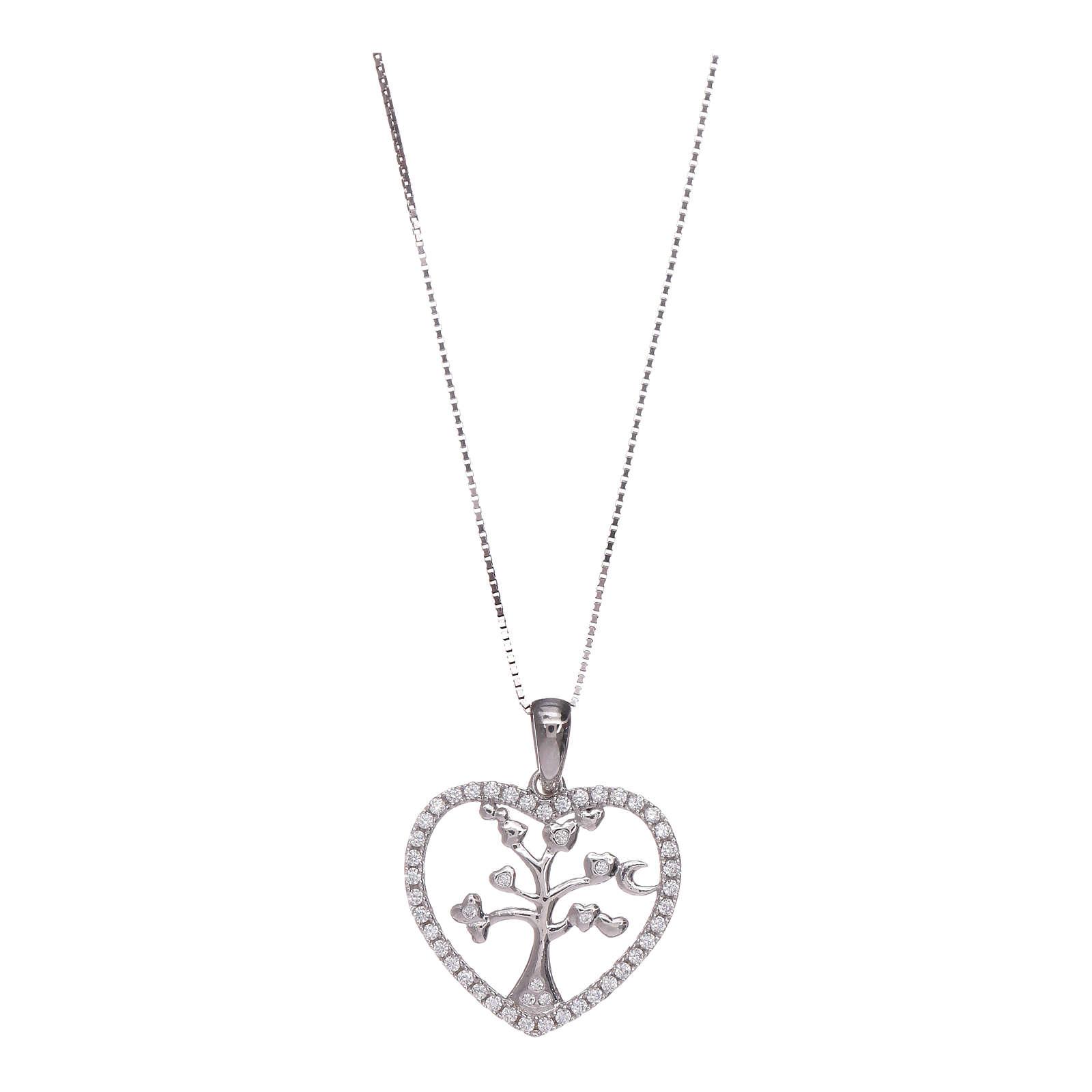 Collar Amen corazón y plata 925 zircones blancos 4