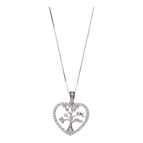 Collar Amen corazón y plata 925 zircones blancos 1