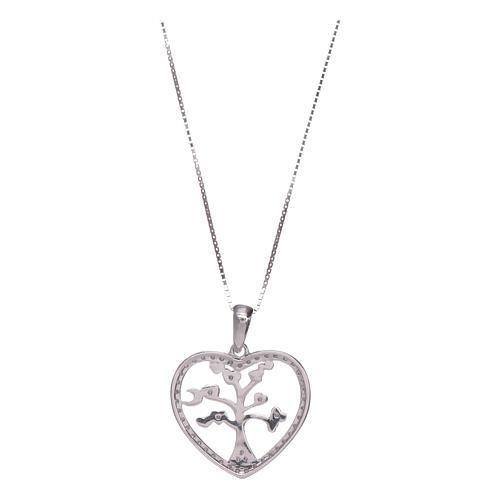 Collar Amen corazón y plata 925 zircones blancos 2