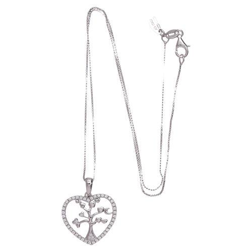 Collar Amen corazón y plata 925 zircones blancos 3