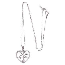 Collier Amen coeur et argent 925 zircons blancs s3