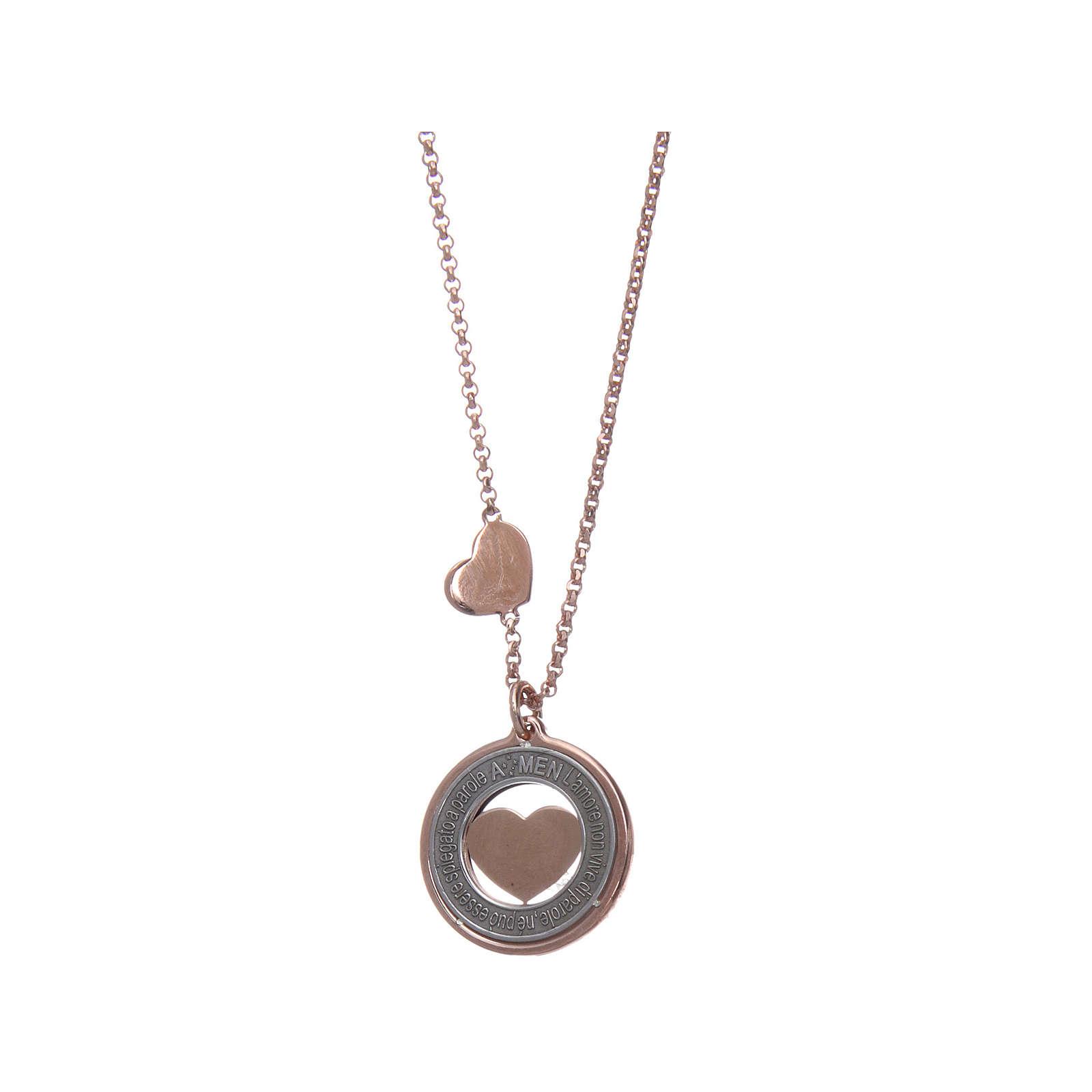 Collana AMEN Arg 925 rosé con medaglia parole e cuore piccola 4