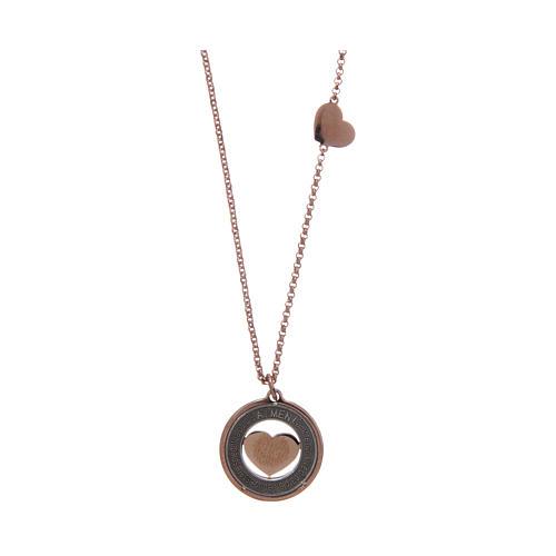 Collana AMEN Arg 925 rosé con medaglia parole e cuore piccola 2