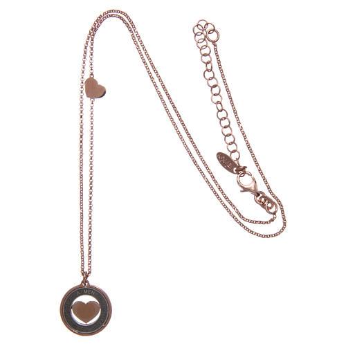 Collana AMEN Arg 925 rosé con medaglia parole e cuore piccola 3