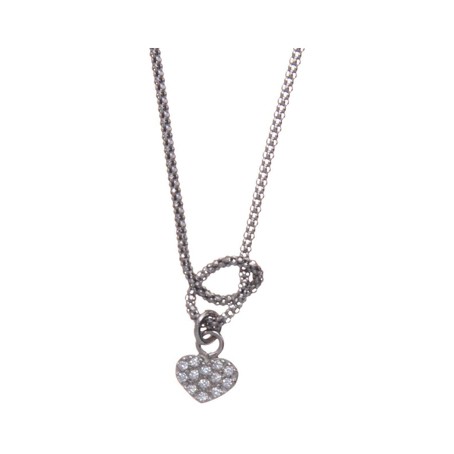 Collier argent 925 rhodié AMEN avec noeud et coeur zircons 4