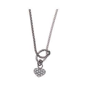 Collier argent 925 rhodié AMEN avec noeud et coeur zircons s1