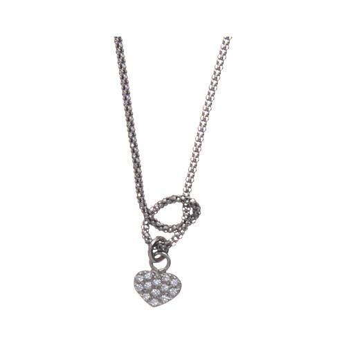 Collier argent 925 rhodié AMEN avec noeud et coeur zircons 1