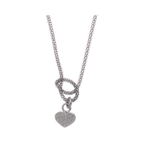 Collier argent 925 rhodié AMEN avec noeud et coeur zircons 2