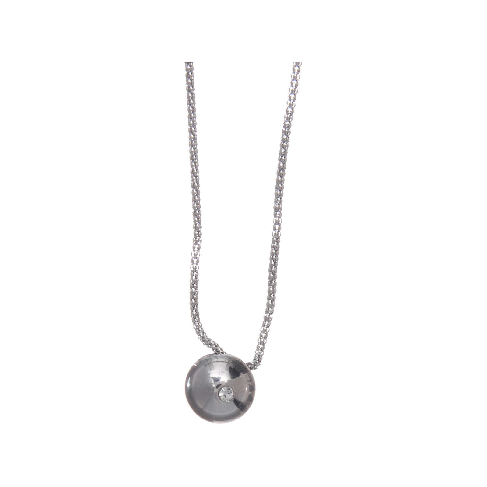 Collana AMEN Arg 925 rodiata con sfera e zircone 4