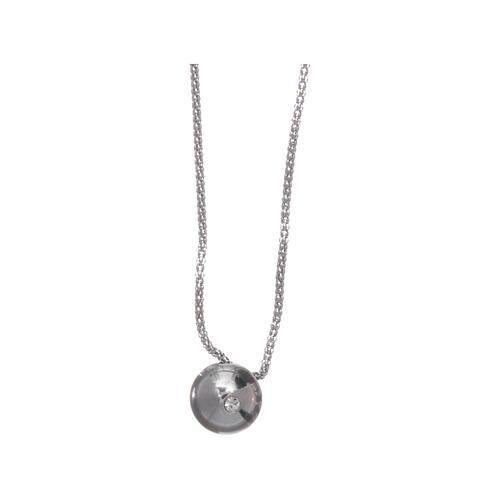 Collana AMEN Arg 925 rodiata con sfera e zircone 1
