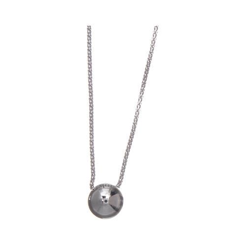 Collana AMEN Arg 925 rodiata con sfera e zircone 2