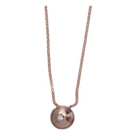 Pingentes, Cruzes, Broches, Correntes: Colar AMEN prata 925 rosê com esfera e zircão