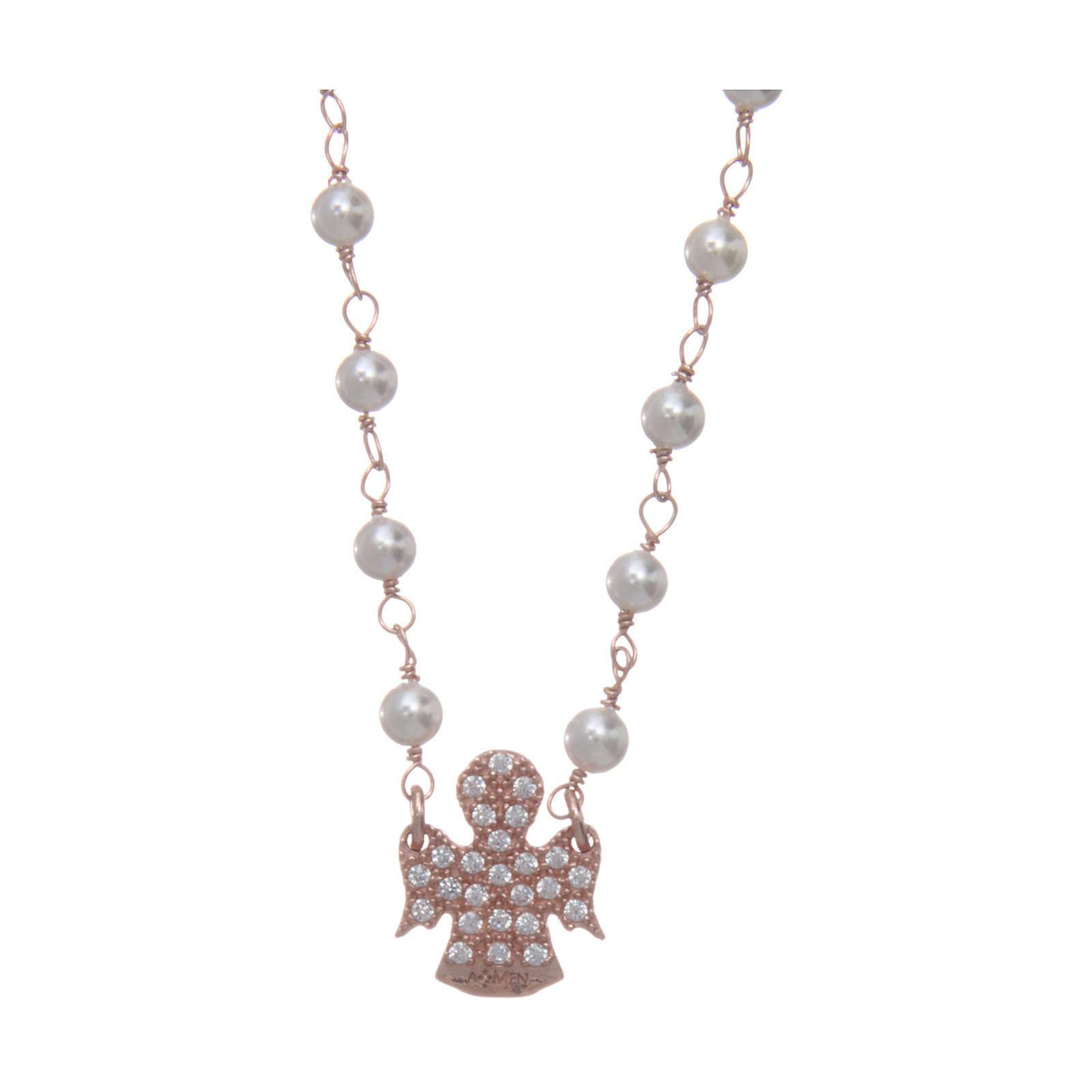 Collana AMEN Arg 925 rosé con perline angelo zirconato 4