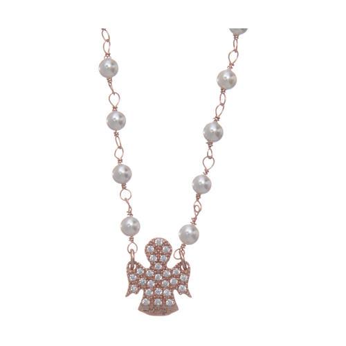 Collana AMEN Arg 925 rosé con perline angelo zirconato 1
