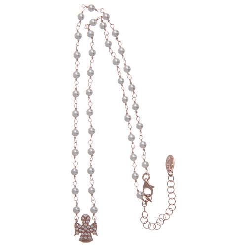 Collana AMEN Arg 925 rosé con perline angelo zirconato 3