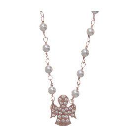Pingentes, Cruzes, Broches, Correntes: Colar AMEN prata 925 rosê com contas anjo zircões