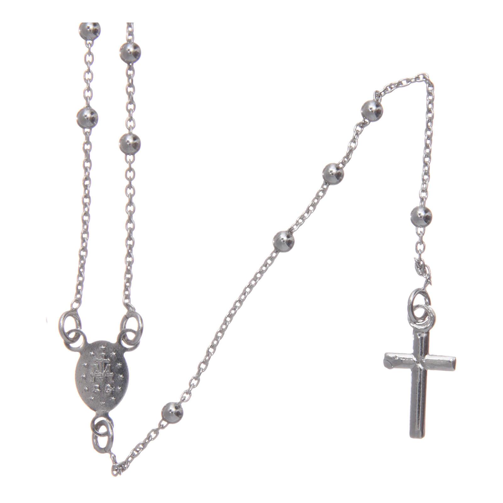 Collar rosario clásico de bronce rodiado AMEN 4