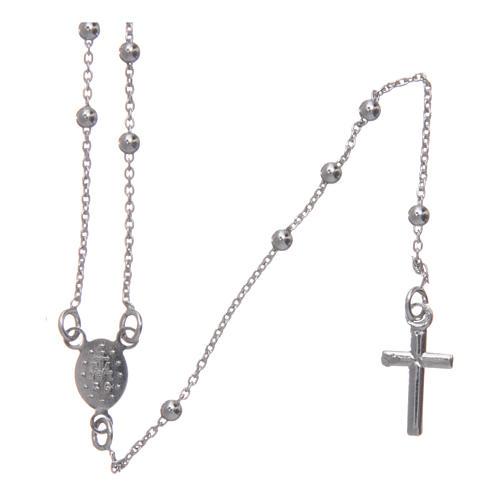 Collar rosario clásico de bronce rodiado AMEN 2
