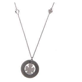 Pingentes, Cruzes, Broches, Correntes: Colar AMEN prata 925 radiada com medalha frase anjo grande