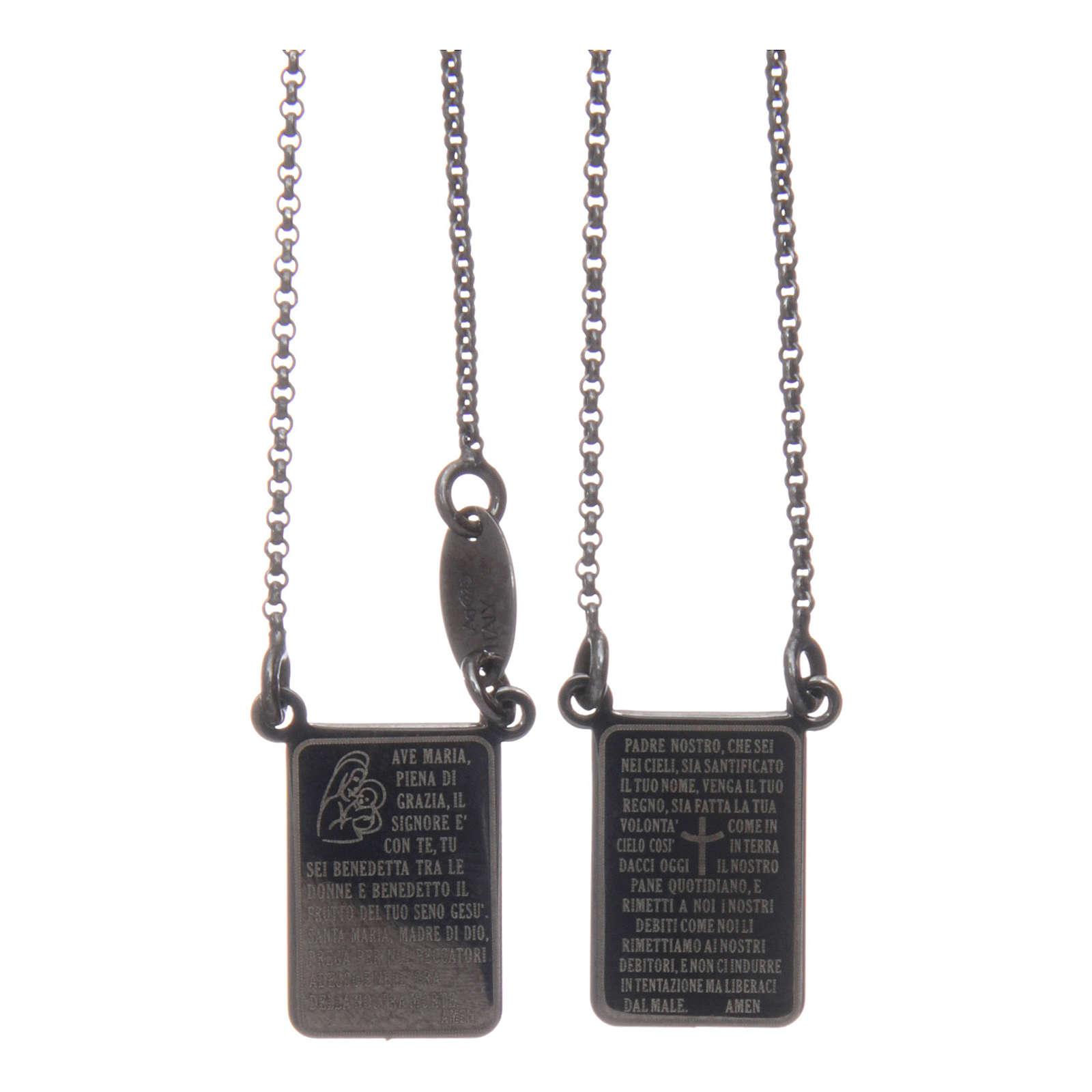 Scapolare Arg 925 brunito AMEN con medaglia Ave Maria e Padre Nostro 4