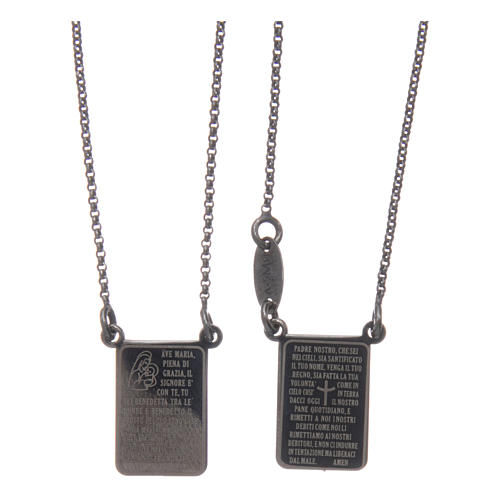 Scapolare Arg 925 brunito AMEN con medaglia Ave Maria e Padre Nostro 2