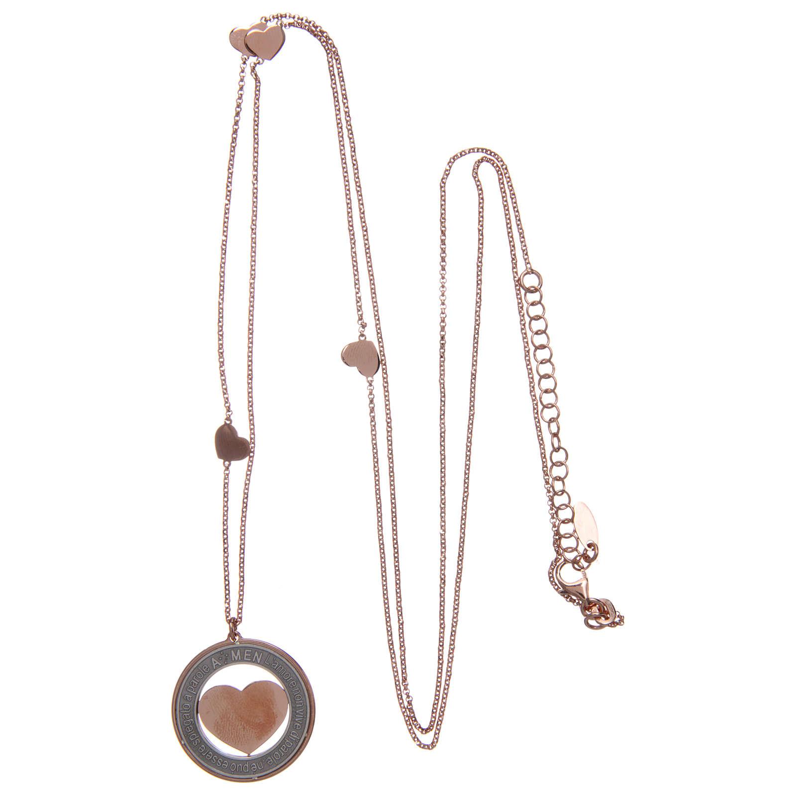Collana AMEN Arg 925 rosé con medaglia parole e cuore grande 4