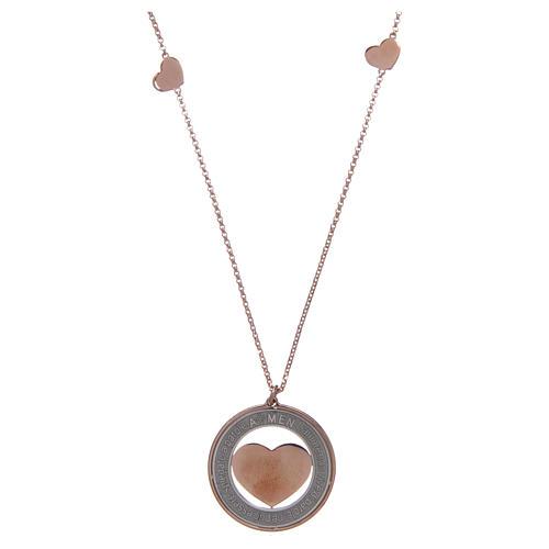 Collana AMEN Arg 925 rosé con medaglia parole e cuore grande 1