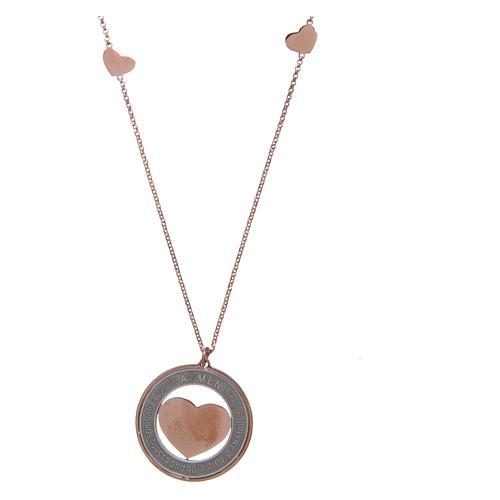 Collana AMEN Arg 925 rosé con medaglia parole e cuore grande 2