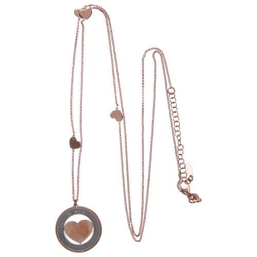 Collana AMEN Arg 925 rosé con medaglia parole e cuore grande 3