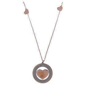 Pingentes, Cruzes, Broches, Correntes: Colar AMEN prata 925 rosê com medalha frase e coração
