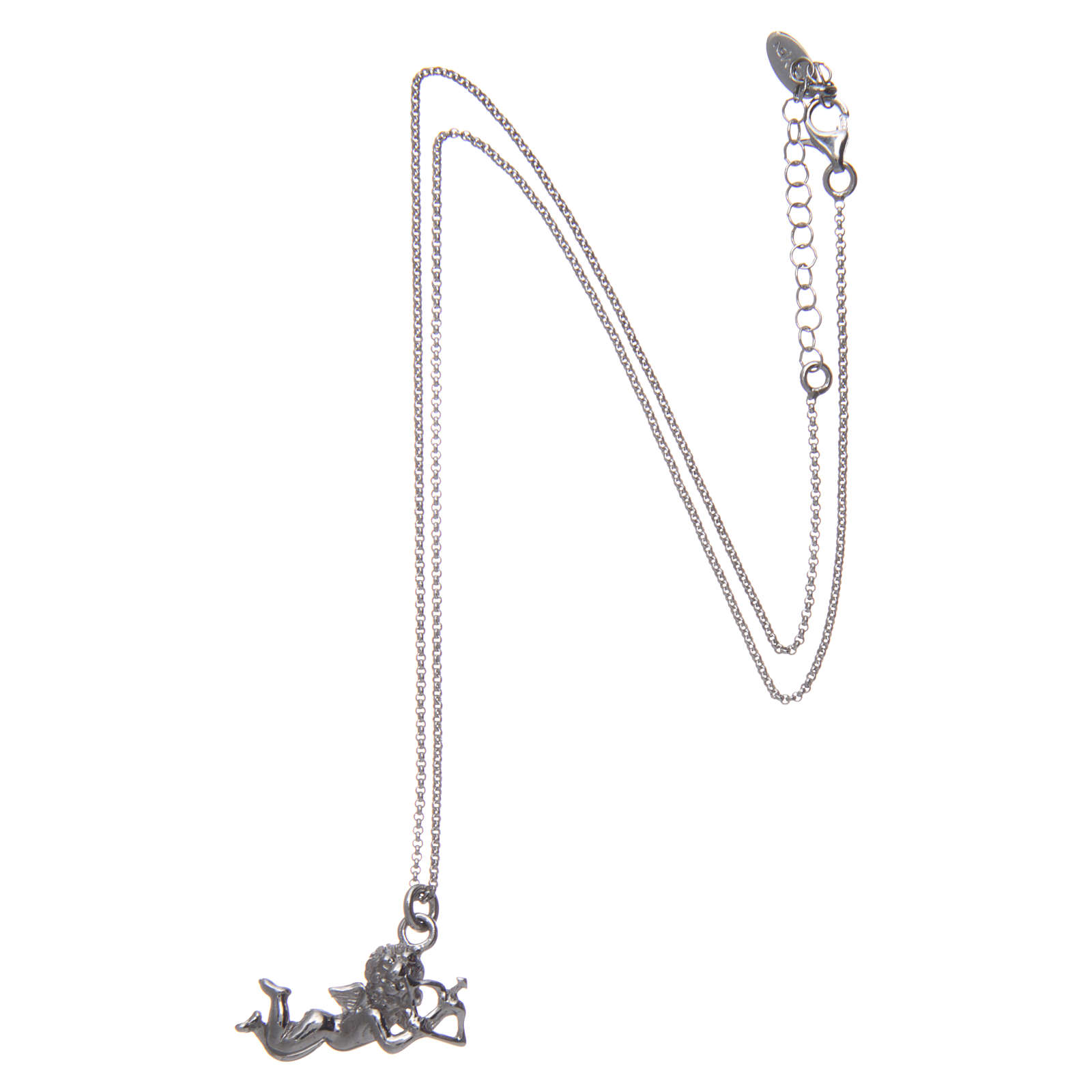 AMEN necklace in 925 sterling silver finished in rhodium with Angel Cupid 4