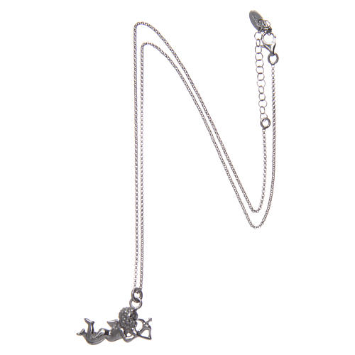 AMEN necklace in 925 sterling silver finished in rhodium with Angel Cupid 3