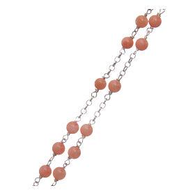 Collier chapelet classique AMEN argent 925 rhodié avec grains corail bambou s3