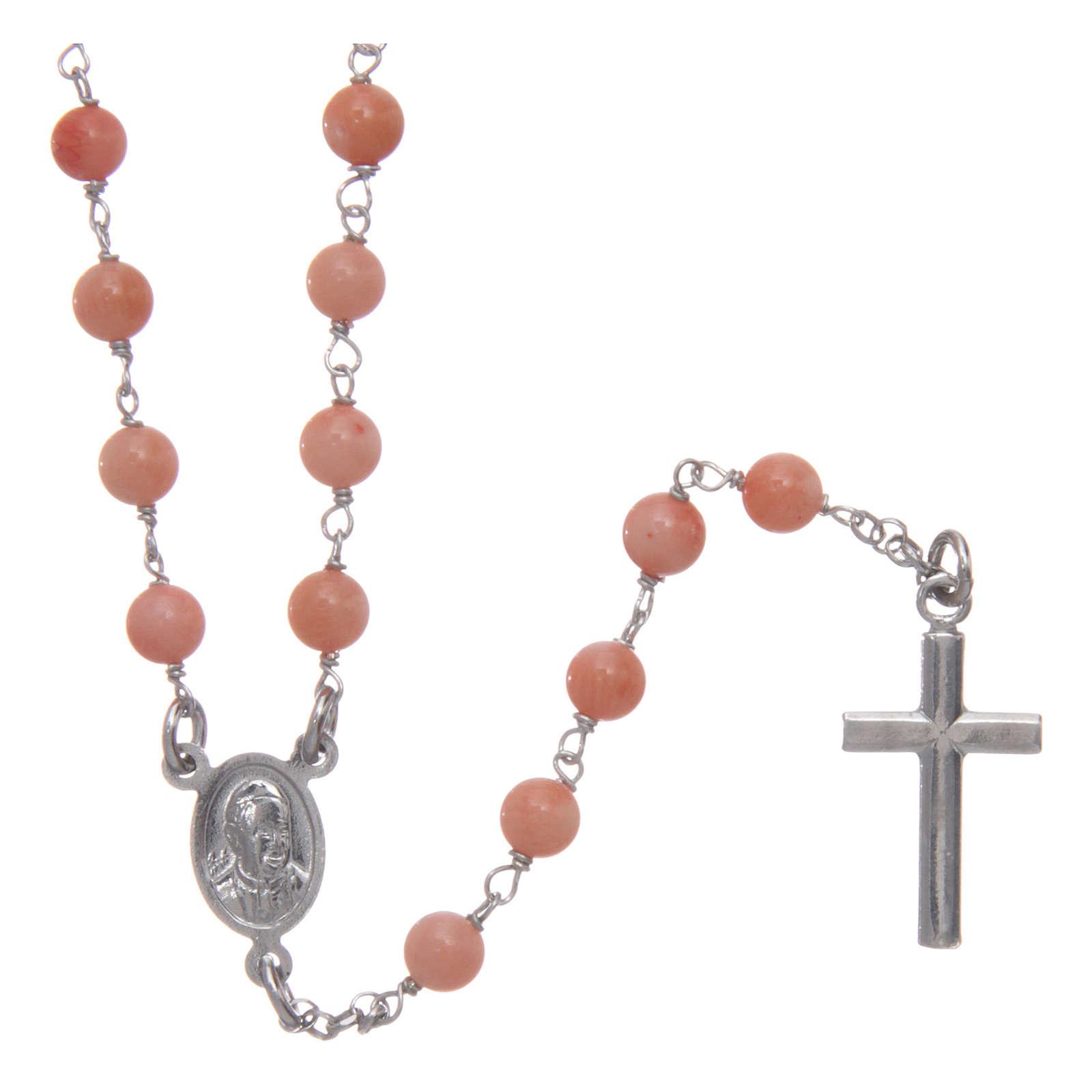 Collana rosario classico AMEN Arg 925 rodiata con grani corallo bambù 4