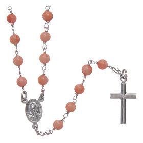 Collana rosario classico AMEN Arg 925 rodiata con grani corallo bambù s2