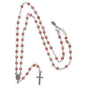Collana rosario classico AMEN Arg 925 rodiata con grani corallo bambù s4