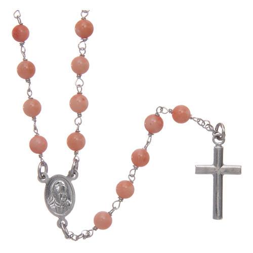 Collana rosario classico AMEN Arg 925 rodiata con grani corallo bambù 2