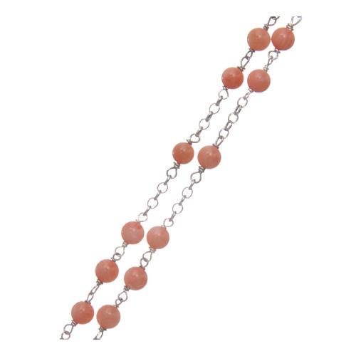 Collana rosario classico AMEN Arg 925 rodiata con grani corallo bambù 3