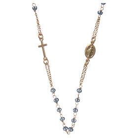 Collier chapelet tour de cou AMEN argent 925 or avec grains cristaux bleus s1