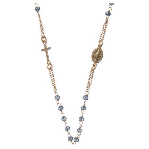 Collier chapelet tour de cou AMEN argent 925 or avec grains cristaux bleus 1