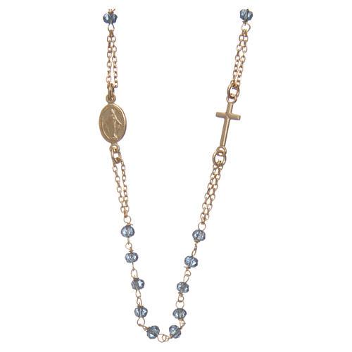 Collier chapelet tour de cou AMEN argent 925 or avec grains cristaux bleus 2