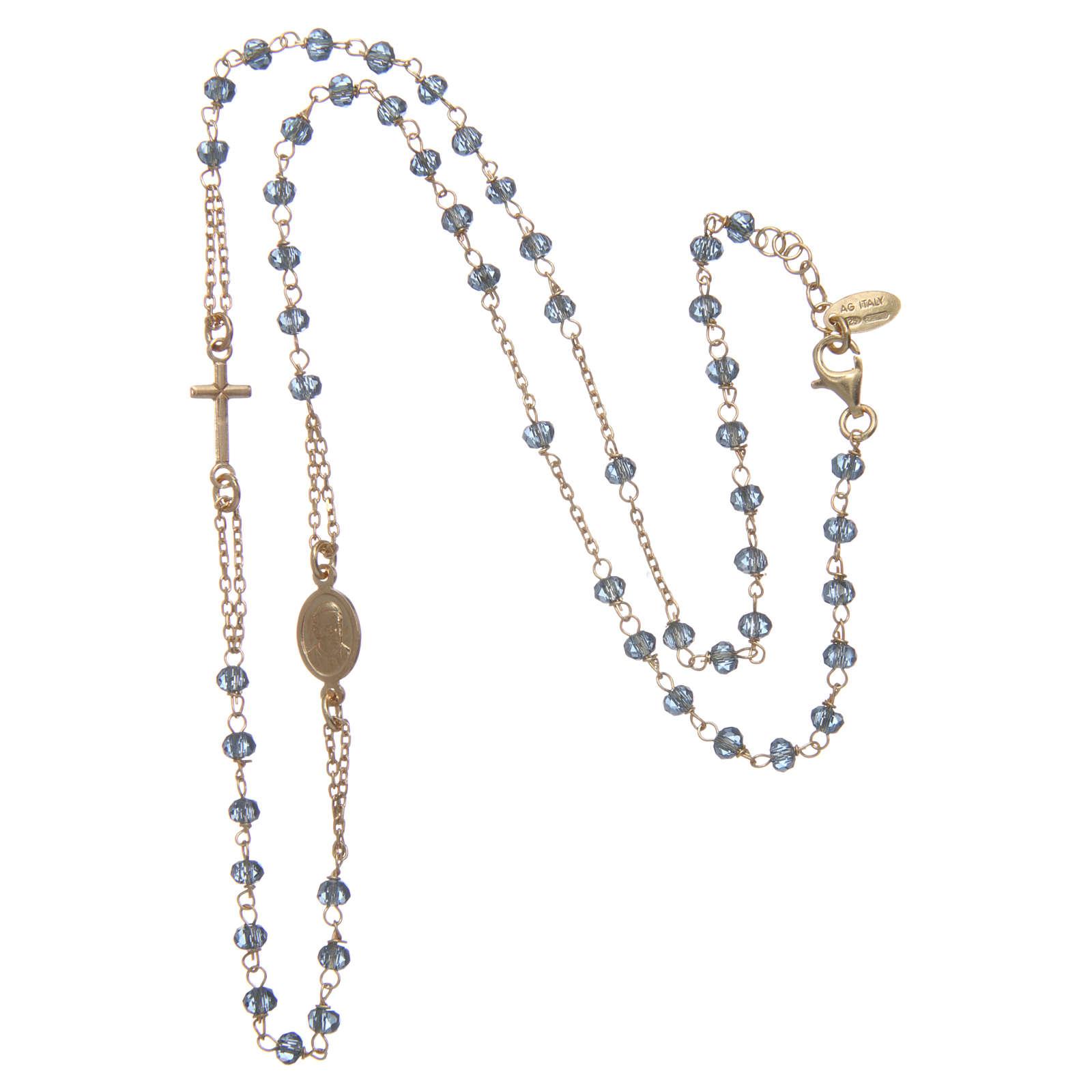 Collana rosario girocollo AMEN Arg 925 oro con grani cristalli blu 4