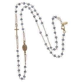 Collana rosario girocollo AMEN Arg 925 oro con grani cristalli blu s3