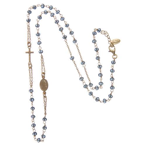 Collana rosario girocollo AMEN Arg 925 oro con grani cristalli blu 3