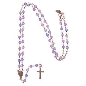 Collana rosario classico Arg 925 AMEN rosé con grani giada lilla s4