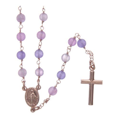 Collana rosario classico Arg 925 AMEN rosé con grani giada lilla 1