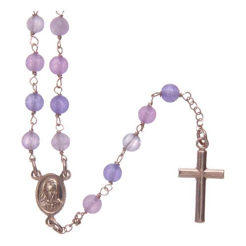 Collana rosario classico Arg 925 AMEN rosé con grani giada lilla 2